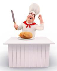 Chef cooking chicken