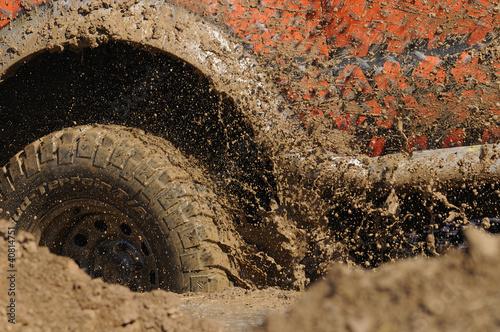 Fotobehang Motorsport 4x4 mud tyres