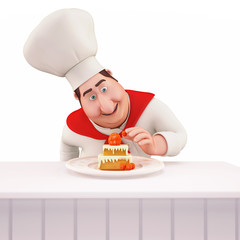 Chef decorating pastry