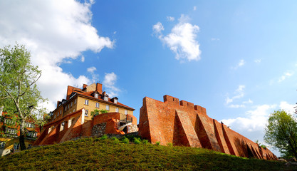 castle wall in an old part of the town in Warsaw, Poland