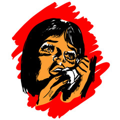 femme efrrayée au téléphone