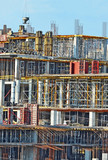 Building construction site detail with scaffolding and formwork poster