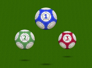 Championship Soccer Balls on Green Field