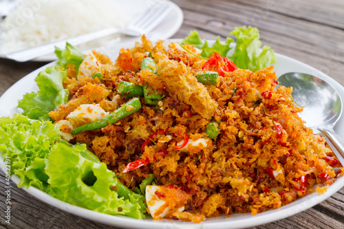 deep fired fish mixed with spicy sauce
