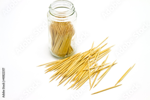 toothpick in bottle glass