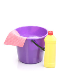 Bucket with detergent and cloth for cleaning isolated on white