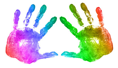 rainbow hand prints on white