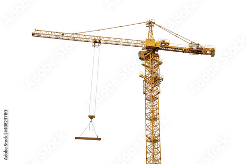 yellow crane isolated on white
