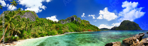 panorama of beautiful deserted tropical beach
