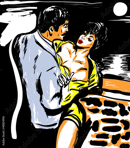 couple sensualité croquis couleur - 40824916