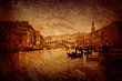 Textured image of  Rialto Bridge in Venice.