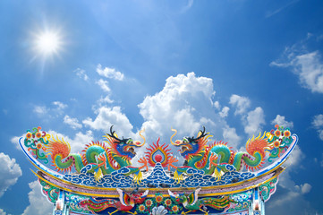 The Dragon status on roof of joss house on blue sky