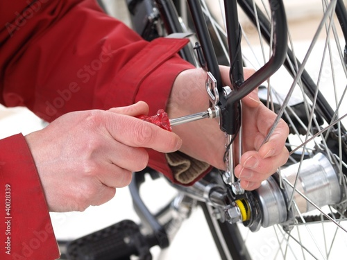 Bicycle repair, close-up