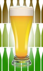 Birra bionda con bottiglie
