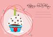 Geburtstagskarte mit Muffin, Cupcakes  und Kerze