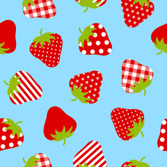Seamless Pattern Red Strawberries Blue Background