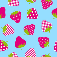 Seamless Pattern Pink Strawberries Blue Background