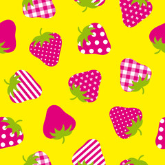 Seamless Pattern Red Strawberries Yellow Background