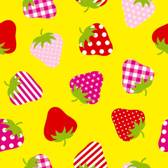 Seamless Pattern Red/Pink/Rose Strawberries Yellow