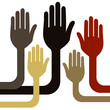 United group of hands vector.