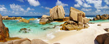 amazing Seychelles - panoramic picture of rocky beach