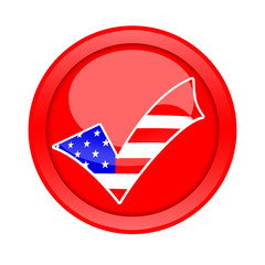 Check mark voting button with american flag