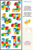 Math picture riddle with colorful building blocks