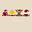 Santa, Angel, Reindeer & Chrismas Ball Beige