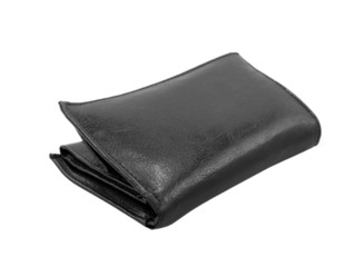 Black wallet. Isolated on a white background