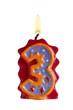 Geburtstagskerze Freisteller 3 Jahre