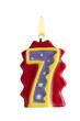 Geburtstagskerze Freisteller 7 Jahre