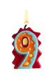 Geburtstagskerze Freisteller 9 Jahre