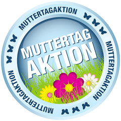 Button Muttertagaktion Blumen blau