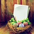 Easter eggs in hay nest