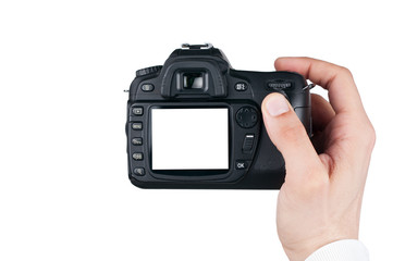 Digital camera in man hand, Taking photo  isolated on white