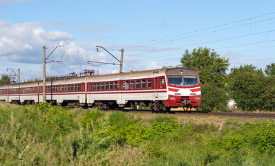 Suburban electric train in Kyiv region, Ukraine