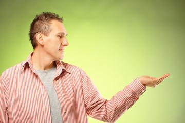 Man presenting something on hand