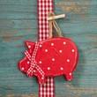 Glück - rotes Glücksschwein aus Holz