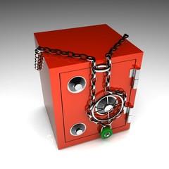 Cassaforte con catena e lucchetto