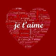 """""""JE T'AIME"""" (amour carte saint valentin passion amoureux coeur)"""