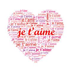 """Carte Coeur """"JE T'AIME"""" (amour saint valentin passion amoureux)"""