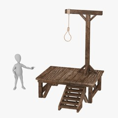 3d render of cartoon character with gallows