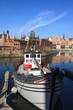 Old Town and boat in Gdansk, Poland.