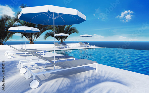 Swimming pool lounge hotel umbrella atmospheric sky