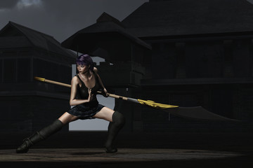 Fantasy female ninja with glaive in shaolin courtyard