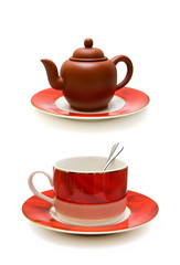 Coffee cup and teapot