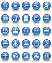 Transportation Glossy Button Set
