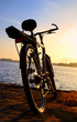 Bicycle silhouette against colorful sunset and industrial port b