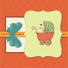 baby shower card with pram