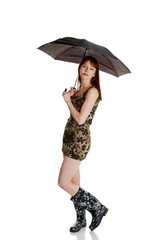 Happy young woman with a umbrella